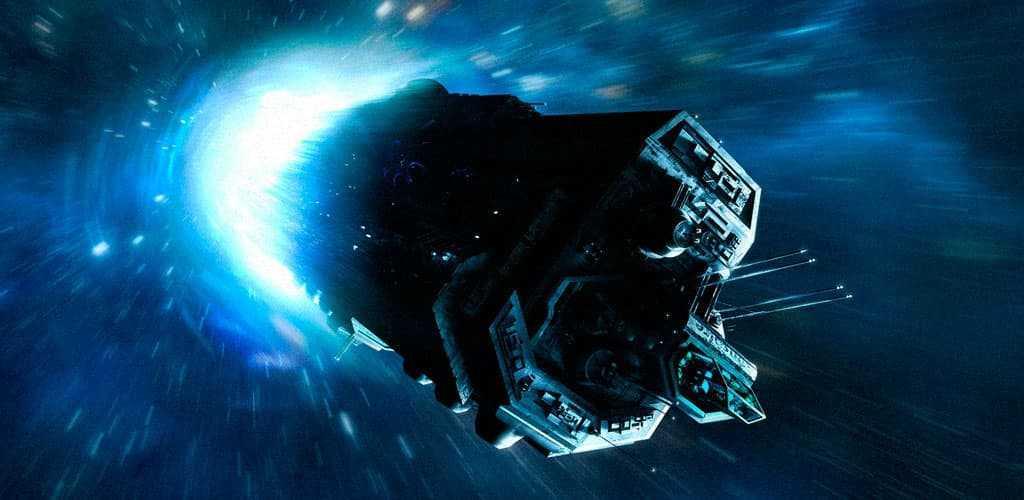 Космический корабль входит в гиперпрыжок